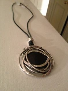 Leather and silver necklace great stocking stuffer