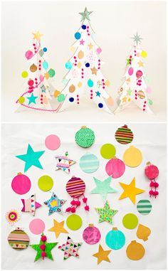 Colorful Cardboard Christmas Trees and DIY Ornaments. Fun collaborative art project for kids to make handmade trees and colorful paper ornaments.