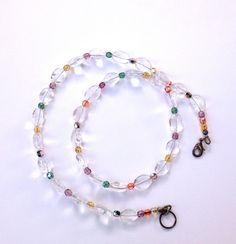 Clear Quartz Necklace, Rainbow Necklace, Multi Color Necklace, Natural Quartz Crystal Jewelry with Multi Colored Glass Beads https://www.etsy.com/listing/228616237/clear-quartz-necklace-rainbow-necklace?utm_campaign=crowdfire&utm_content=crowdfire&utm_medium=social&utm_source=pinterest