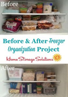 Before and after freezer organization project, shown by a reader, Sarah, who took the Organize Freezer Challenge on Home Storage Solutions 101