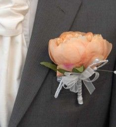 Grooms Artificial Vintage Cream Peony Buttonhole with Pearls, Ideal for the Best men as well.