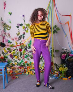 80s vintage tee retro striped yellow black t-shirt knitwear | Etsy