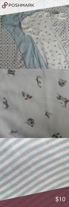 Baby boy's Carter's Two Pack Gowns Two pack of open bottom gowns. Hardly worn. First design features a white background with dogs playing. Second design is baby blue and white stripes. Carter's Pajamas Sleep Sacks