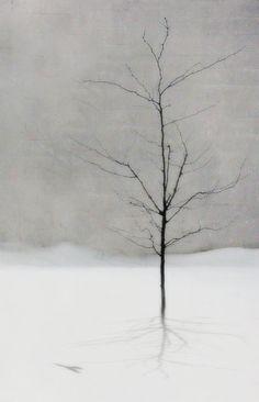 tree in the snow winter scene by dcandrews on Etsy, $25.00