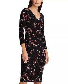 Lauren Ralph Lauren Floral Pleated Jersey Dress & Reviews - Dresses - Women - Macy's