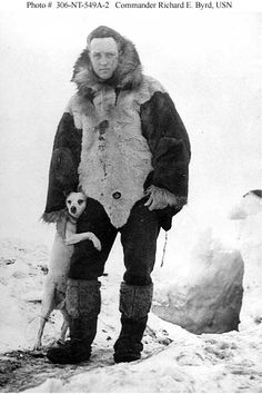 "Commander Byrd with his dog ""Igloo"", outside a hut during his first Antarctic Expedition, 12 April 1930. Igloo was  the subject of a biography (entitled ""Igloo"") by Jane Brevoort Walden"