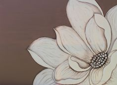 Original acrylic painting of cream and mocha flower painted onto canvas by Maralin Cottenham