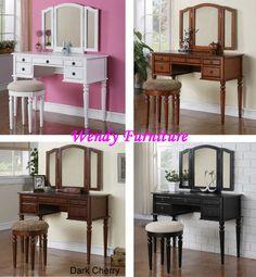 White Cherry Black Oak Vanity Make Up Mirror Wood Table Dresser Bench Stool Set