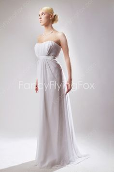 fancyflyingfox.com Offers High Quality Empire Full Length White Chiffon Dipped Neckline Maternity Wedding Dresses With Sash ,Priced At Only US$180.00 (Free Shipping)