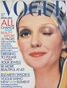 June 1972 British vogue cover. Not sure what the idea of two color eyes was. Haven't seen this before.