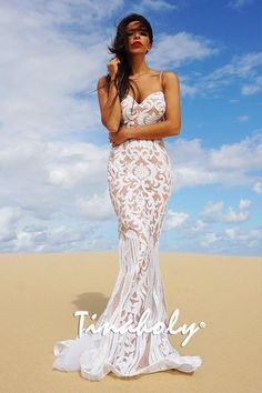 e73433d6728 Tinaholy Couture T17101 White Nude Sequin Thin Strap Gown