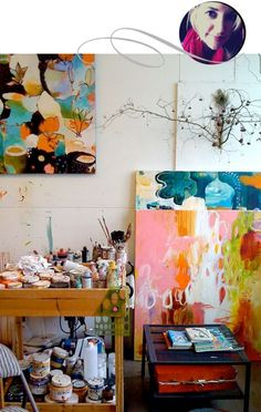 via papaya blog...love the messiness of the space and the colors of the art