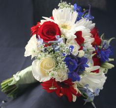 wedding flowers red white and blue - Perfect with a couple sunflowers?!
