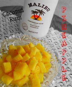Coconut Rum Soaked Pineapple  16 oz Coconut Rum  1 Fresh Pineapple, peeled & cored  Cut Pineapple into bite size chunks. Place in medium bowl & Pour Coconut Rum over Pineapple. Cover & Refrigerate approx. 24 hours. Drain, reserving Rum. Serve pineapple in tropical flavored cocktails or as an alcoholic appetizer. The reserved Rum can be served alone or with additional Pineapple Juice