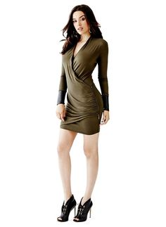 162901aeb93249 Long-Sleeve Faux-Leather Cuff Dress at Guess