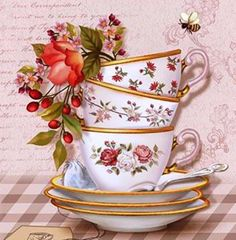 Montage Photo, One Stroke Painting, Cross Stitch Pictures, Photocollage, Tea Box, Victorian Art, Coffee Art, Beautiful Paintings, Vintage Flowers