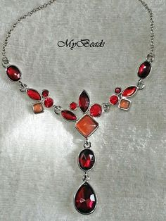 Y-Colliers mit roten Kristallen von MyBeads auf DaWanda.com