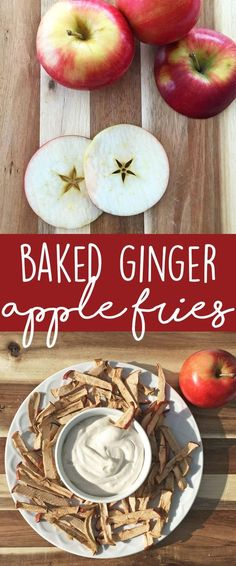 EASY RECIPE Baked Ginger Apple Fries #applefries #healthyrecipes