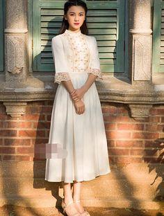 Платье, элегантный три анти квартал рукав вышивка женщина хлопок длиннаякупить в магазине Sunny  Zhu's store(  Exquisite  High-quality  Fashion) наAliExpress