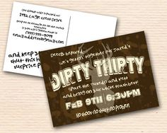 Dirty Thirty Party Invitation- by Oh, Happiness Stationery   #party #birthday #thirty