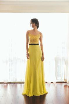MYTH Holiday 2014 Campaign - Royal Opulence: Duchess of Cambridge. Canary Yellow Gown with Embellished Bodice and Chiffon Skirt by Joel Escober.
