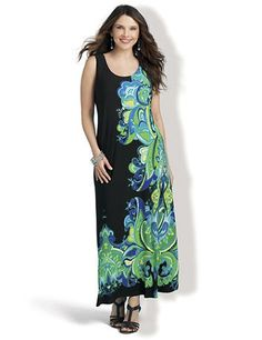 Make a statement in this bold maxi dress. Bright paisleys flourish along the side for a subtle slimming effect. Pair any of our soft shrugs with this sleeveless, scoopneck dress for wear-now possibilities. Catherines dresses are expertly designed for the plus size woman. catherines.com