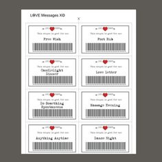 Love Coupons, 39 Printable Coupons, Valentine Printable, D Coupons D'amour, Printable Coupons, Free Printables, Saint Valentine, Funny Valentine, Printable Valentine, Love Gifts, Gifts For Her, Cadeau Couple