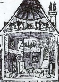 Gryffindor dormitory and common room. - Hogwarts cross-section daigram, Bohemian Weasell -- Hogwarts cross-section by Soni Alcorn-Hender! 2