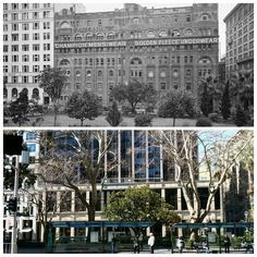 Looking across Wynyard Park to Carrington Street, Sydney. Australia House on the left next to the Patterson, Laing & Bruce Ltd building 1938<<<>>>2016 with the only remaining building the Bank of NSW on the right in Wynyard Street. [State Library NSW > Allan Hawley. By Allan Hawley]