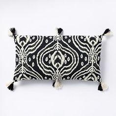 Beaded Ikat Pillow Cover - Black + White #westelm