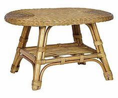 Tavolino in rattan e midollino Belmonte - 80x50x50 cm