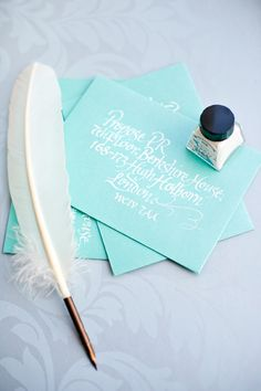Envelope and Calligraphy by Intricate Creations Wedding Event Planner, Wedding Events, Event Management Company, Beach Wedding Inspiration, Brand Board, Second Weddings, Style And Grace, Wedding Stationary, White Ink