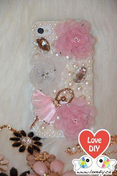The Gorgeous Ballet Girl Bling Bling iPhone Case DIY Kit (visit www.lovediy.ca) Avail in: iPhone 4, iPhone 4s, iPhone 5, iPhone 5s Case, DIY iPhone Case, Bling iPhone Case, iPhone Case DIY Kit