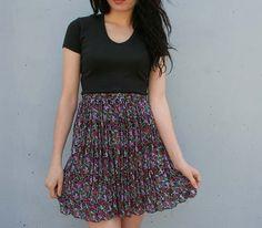 Sheer purple pleats vintage 90s mini skirt from Lucky Vintage