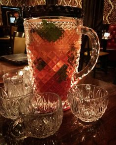 Crystal pitchers filled with cheer for holiday festivities at @plantershouse