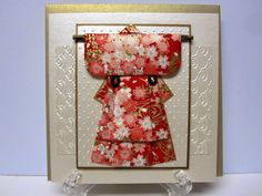handmade card from Creations by Patti ... elegant  Japanese kimono made using the puffy paper quilting technique and gorgeous Japanese papers ... luv the shimmer from the specialty papers ... WOW!