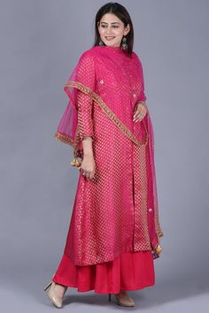 anokherang Combos XS Pink Brocade Double Layered Jacket Style Kurti Set with Mirror Stone Dupatta Silk Kurti, Anarkali Kurti, Jacket Style Kurti, Beautiful Suit, Indian Fashion Designers, Yellow Pants, Western Outfits, Indian Wear, Traditional Outfits