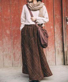 Bohemian Ethnic Autumn and Winter New Women's Long Design Elastic Waist Bust Long Skirt Mori Girl Wool Cotton Novelty Skirt