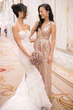 43 Striking Sequin Bridesmaids' Dresses | HappyWedd.com I like both dresses!
