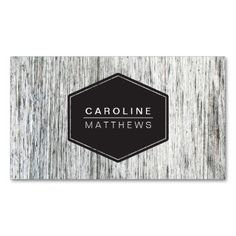A modern, elegant personal profile business card template featuring a rustic, gray, almost white washed wood grain background. Customizable name on the front and name and contact information on the back.