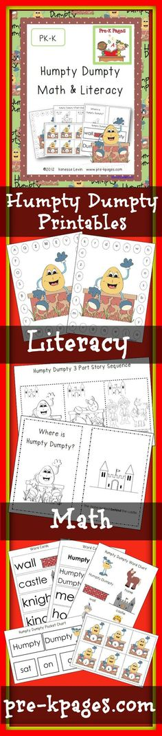 82 pages of literacy and math printables for the nursery rhyme Humpty Dumpty. Alphabet, visual discrimination, concepts of print, numbers, counting, number sense, one-to-one correspondence, prepositions, fine motor for #preschool and Pre-K
