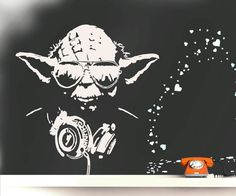 Wall Decal DJ YODA inspired by star wars, Urban Art Wall Sticker, Street Art Banksy Style, Headphones and Music decal, urban interiors Grey Wall Stickers, Wall Decals, Wall Art, Urban Decor, Urban Art, Street Art Banksy, Graffiti, Dj Yoda, Urban Interior Design