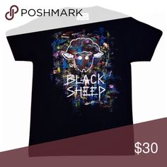 Black Sheep Tee Enjoy a canvas painting on our Black Sheep Tee.  Black Tee Handpainted *Paint details will vary* Shirts Tees - Short Sleeve