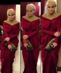 designed by Norma Hauri (Indonesia) super elegant Hijab Abaya, Hijab Gown, Abaya Fashion, Modest Fashion, Fashion Dresses, Lovely Dresses, Modest Dresses, Moslem Fashion, Kebaya Dress