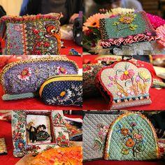 Le magnifique sac de Martine avec ses hexagones de lainage rebrodés à la façon de Ségolaine et avec sa touche personnelle ...quel choix de...