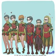 """komru: """" Robins. I didn't have the time to draw the rest :/ please don't repost or reprint or use my art with out my consent. """""""