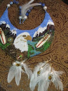 Bead Embroidery Alaska Chilkat Eagle River by jewelrytaylormade, $669.00