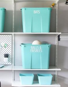 You Think Marie Kondo Skips the Garage? 13 Organization Ideas to Konmari That Space Storage Tubs, Garage Storage, Storage Spaces, Neat And Tidy, Tidy Up, Sticker Storage, Clear Bins, Garage Makeover, Garage Renovation