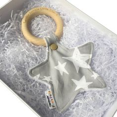 Personalised Grey Star Teething Ring.