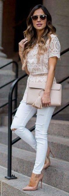 #spring #summer #outfitideas | Blush + Lace + White | Mia Mia Mine